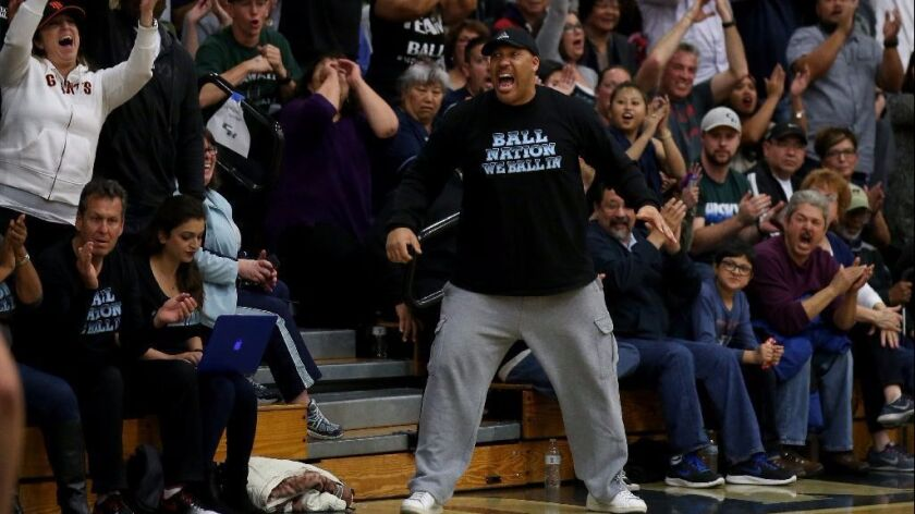 LaVar Ball cheers on sons Lonzo, LiAngelo and LaMelo during a game between Chino Hills and Immanuel