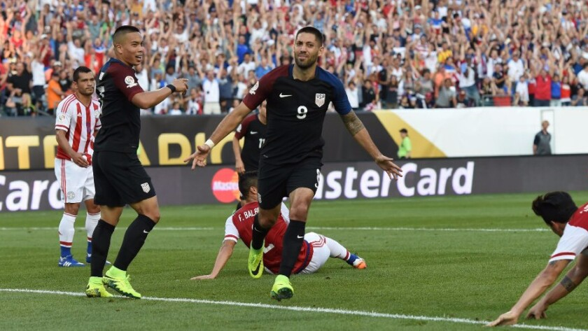 U.S. forward Clint Dempsey celebrates after scoring a goal against Paraguay during the first half of a Copa America match on June 11.