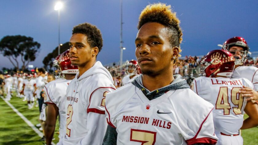 Senior Josh Olave (center) was ineligible to play at Mission Hills in the fall, but he'll show his skills to college scouts in the Alex Spanos All-Star Football Classic.