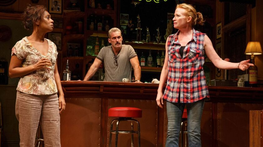 """Michelle Wilson, left, James Colby and Johanna Day in """"Sweat"""" at the Public Theater."""