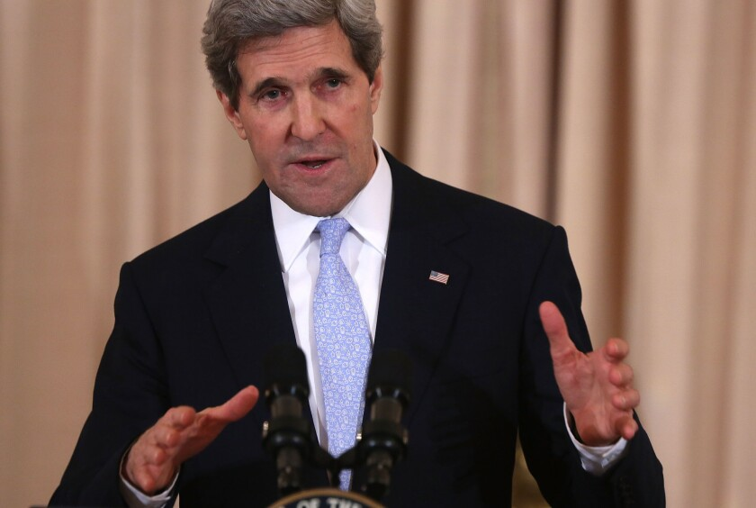 Secretary of State John Kerry speaks during his ceremonial swearing in at the State Department in Washington, D.C.