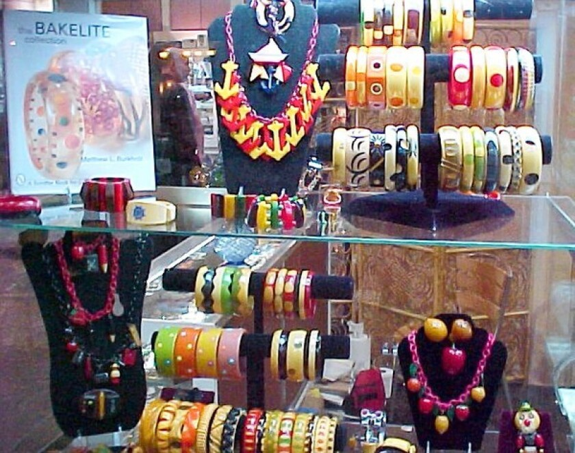 Route 66 West showcases colorful rare vintage costume jewelry.