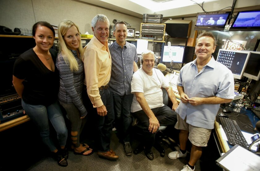 After 27-year radio career in San Diego longtime local DJ Jerry Cesak is leaving KyXy's Jeff & Jer Showgram.  From left to right:  Emily Griffith, Laura Cain, Jer Cesak, Randy Hoag, Jeff Detrow and Little Tommy Sablan. the entire team of the Jef and Jer Showgram.