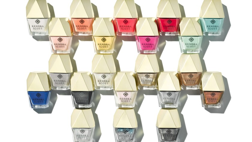 Shade names in the debut Kendra Scott Lacquer collection are stone-based. Examples include Onyx (black), Lapis (a deep royal blue) and Chalcedony (a minty turquoise).