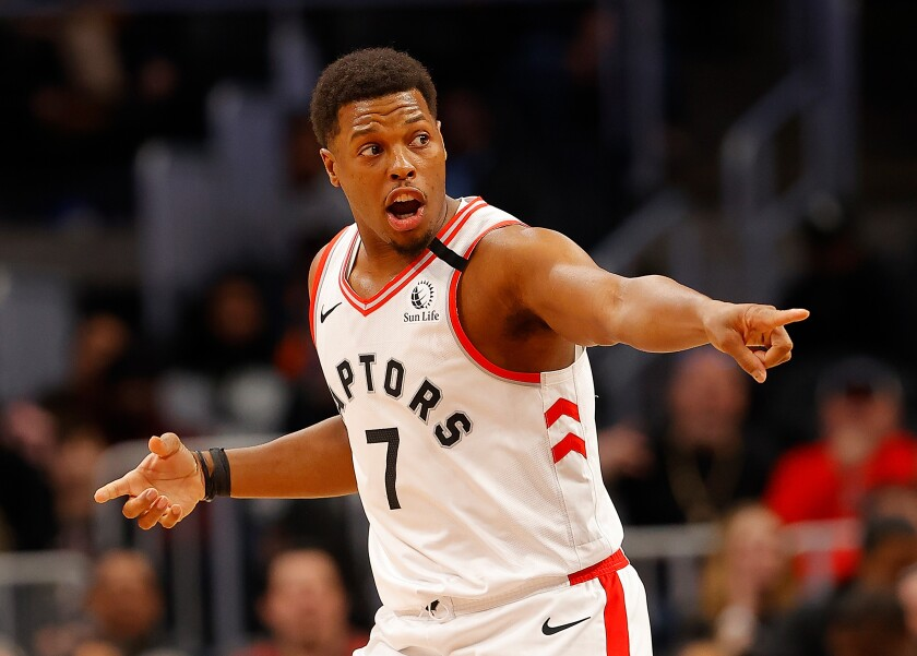 Toronto guard Kyle Lowry reacts after a play against the Hawks during a game Jan. 20, 2020, in Atlanta.