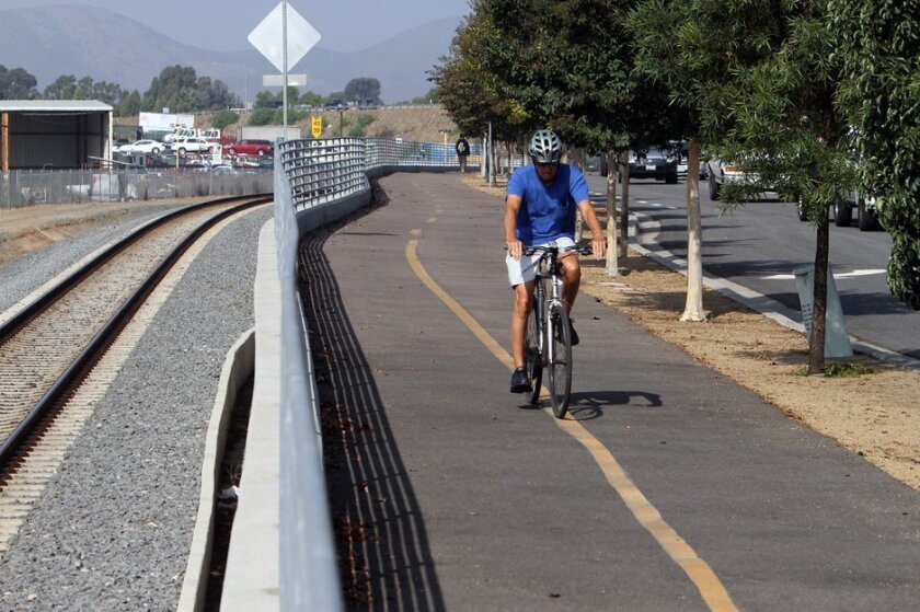 Advocates for expanding North County's transportation options will meet on Wednesday. They'll make a case that projects such as the Inland Rail Trail along the Sprinter tracks should be a bigger priority for local businesses. U-T San Diego file photo.