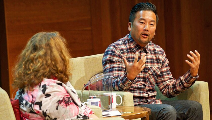 Roy Choi and Evan Kleiman at the Los Angeles Public Library's Aloud speaker series.