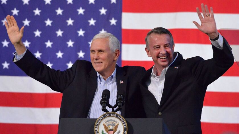 Vice President Mike Pence joins Virginia Republican gubernatorial candidate Ed Gillespie during a campaign rally in Abingdon, Va.