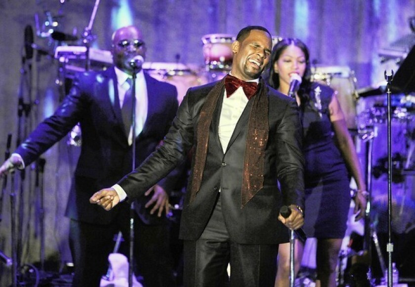 """R. Kelly, performing in 2011, has a simple goal with his shows: """"Hopefully, people will hook up from this."""""""
