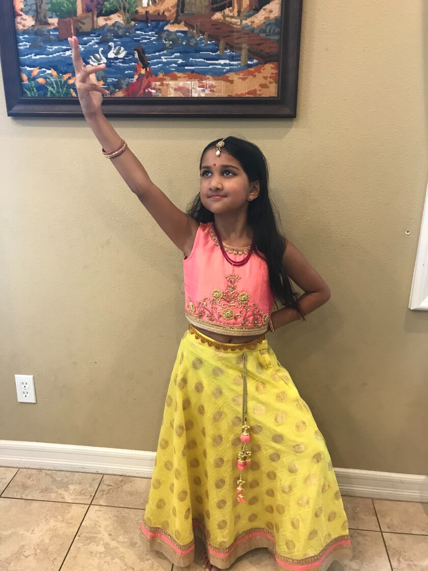 "Maya B danced to ""Jai Ho"" in the talent show."