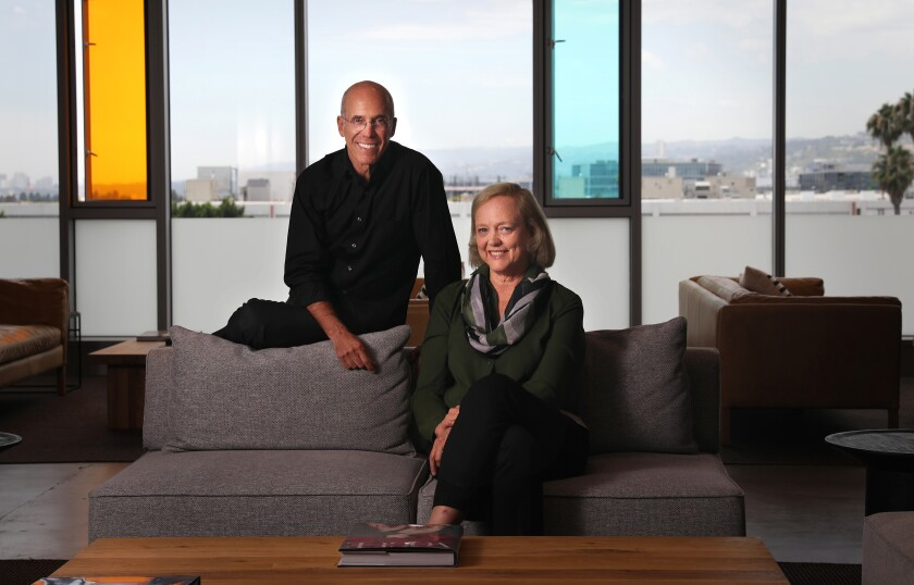 Jeffrey Katzenberg, left, and Meg Whitman are photographed at their start-up, Quibi, a streaming platform offering bite-size shows for millennials, in Los Angeles on Tuesday, July 23, 2019.