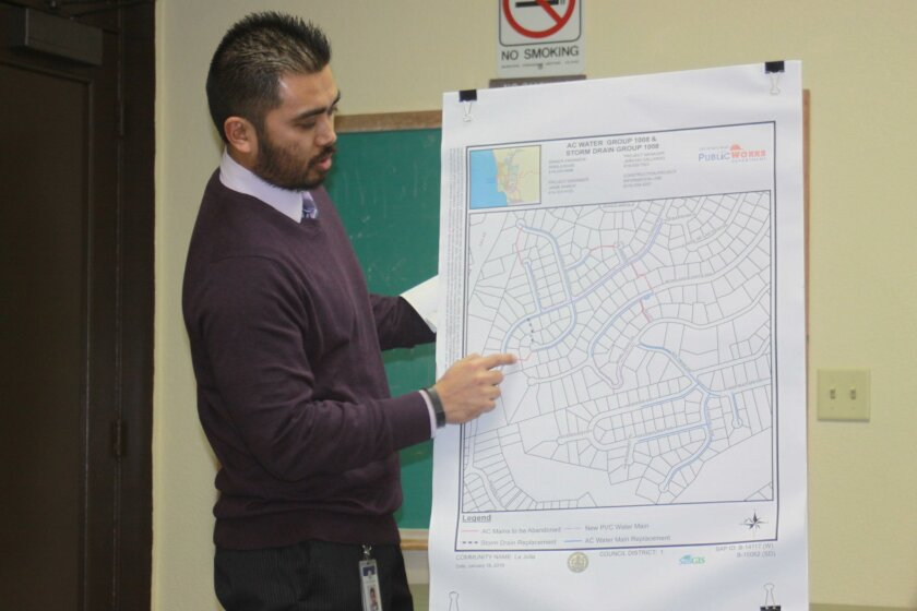 Project manager Jericho Gallardo shows a map of the Muirlands streets that would be under construction as part of the city's planned water project.