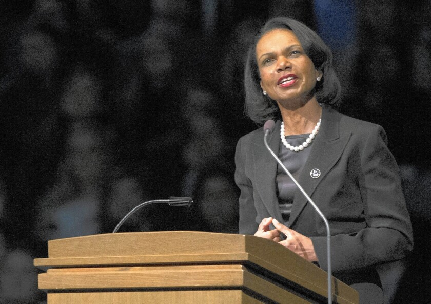 A Field Poll finds that about three in 10 Democrats were inclined to support Condoleezza Rice if she tried for the U.S. Senate, more than any of the other half a dozen GOP prospects mentioned.