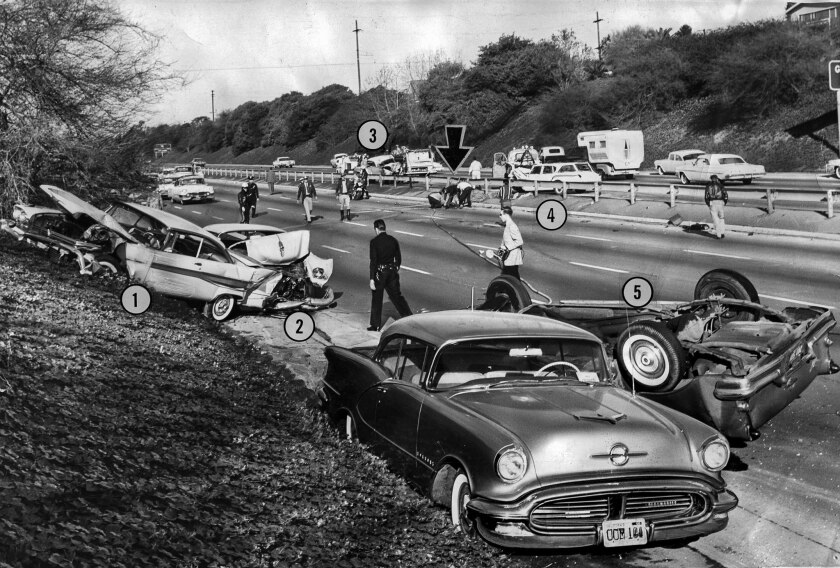 Jan. 13, 1962: Two traffic collisions on the Santa Ana Freeway, between Esperanza and Lorena streets in East Los Angeles, occurred 40 minutes apart.