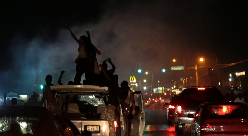 Protesters in Ferguson, Mo., on Friday night.