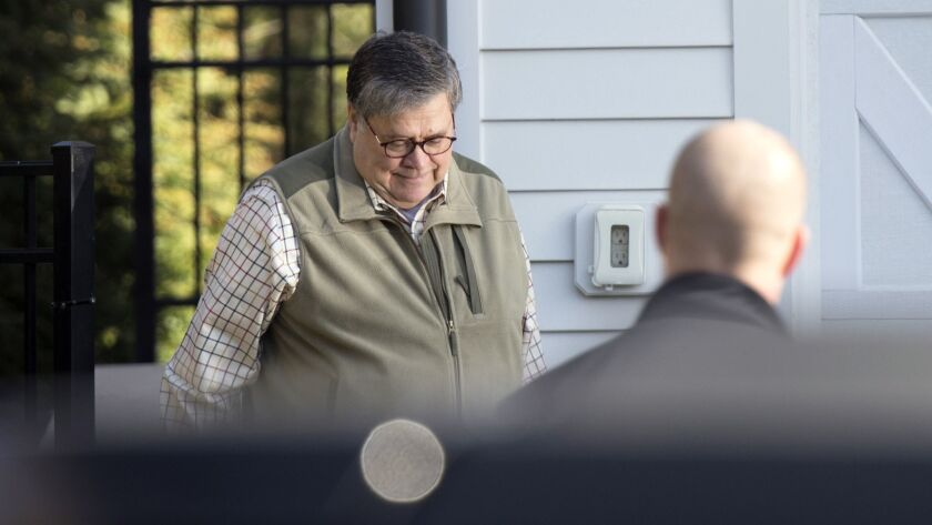 Attorney General William Barr leaves his home in McLean, Va., on Sunday morning, March 24, 2019. Bar