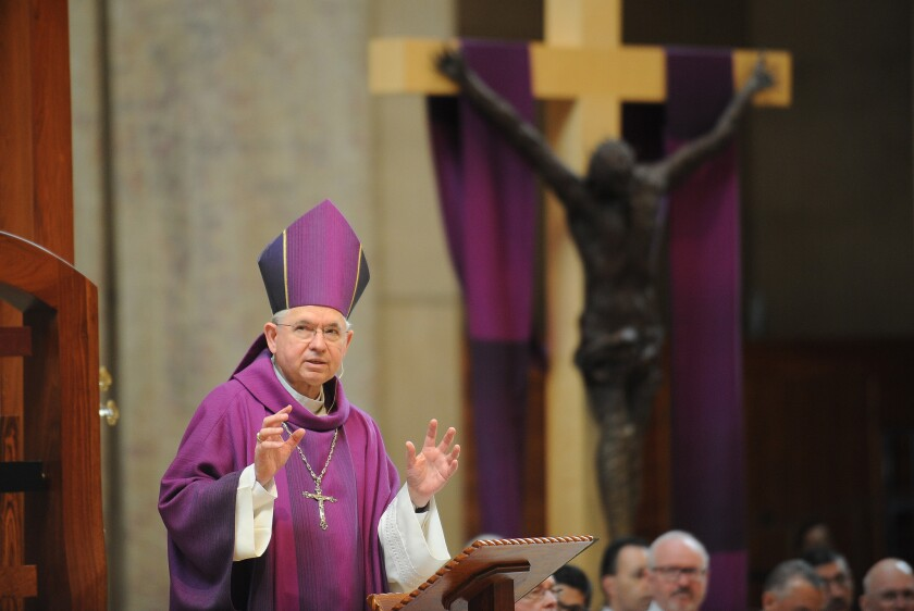 Archbishop Jose H. Gomez celebrates Ash Wednesday Mass at the Cathedral of Our Lady of the Angels in downtown Los Angeles.
