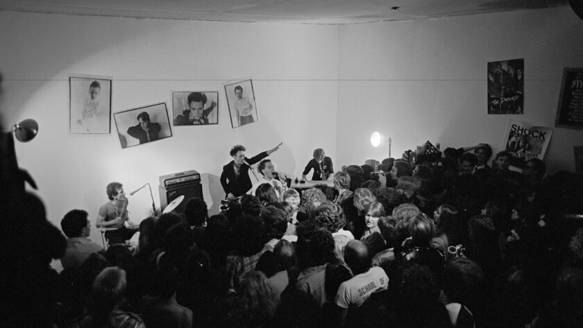 A view of The Screamers' first L.A. gig — at Steve Samiof's studio off of Pico Blvd., in May of 1977.