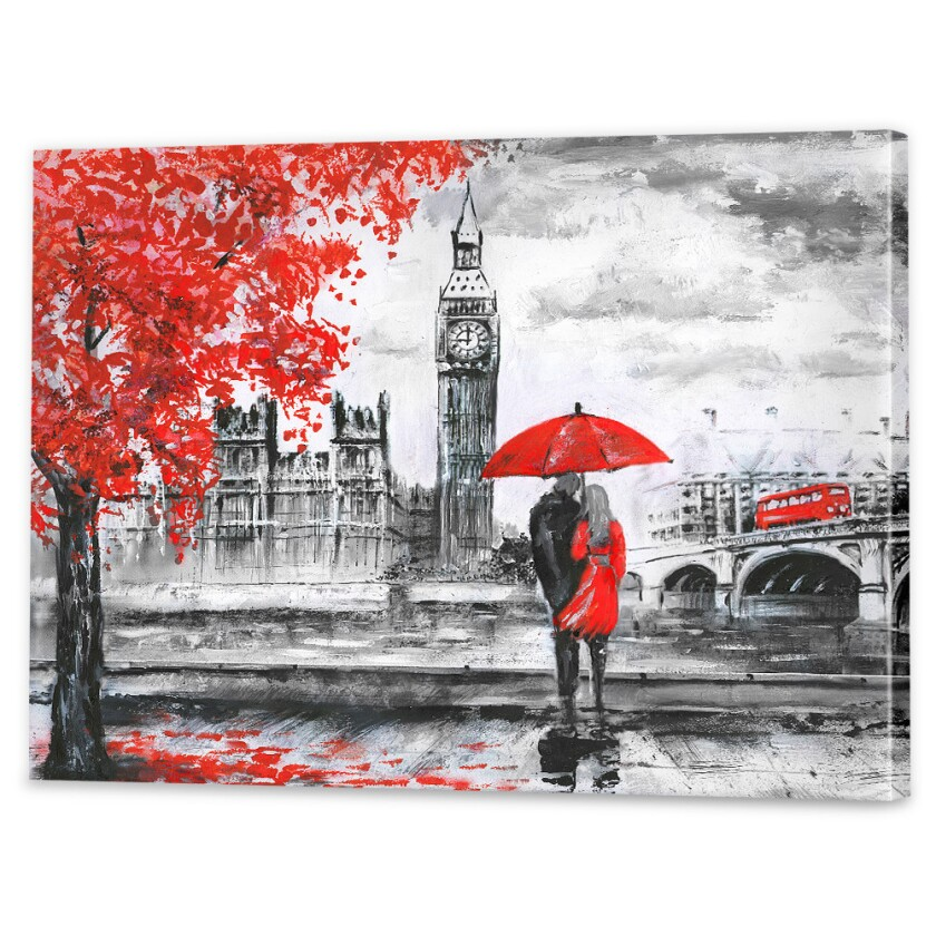 Stretched canvas scene of a misty day in London. Credit: Wall Art Prints