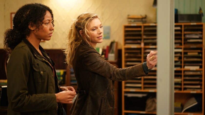 "Kylie Bunbury, left, and Katheryn Winnick in ""Big Sky"" on ABC."
