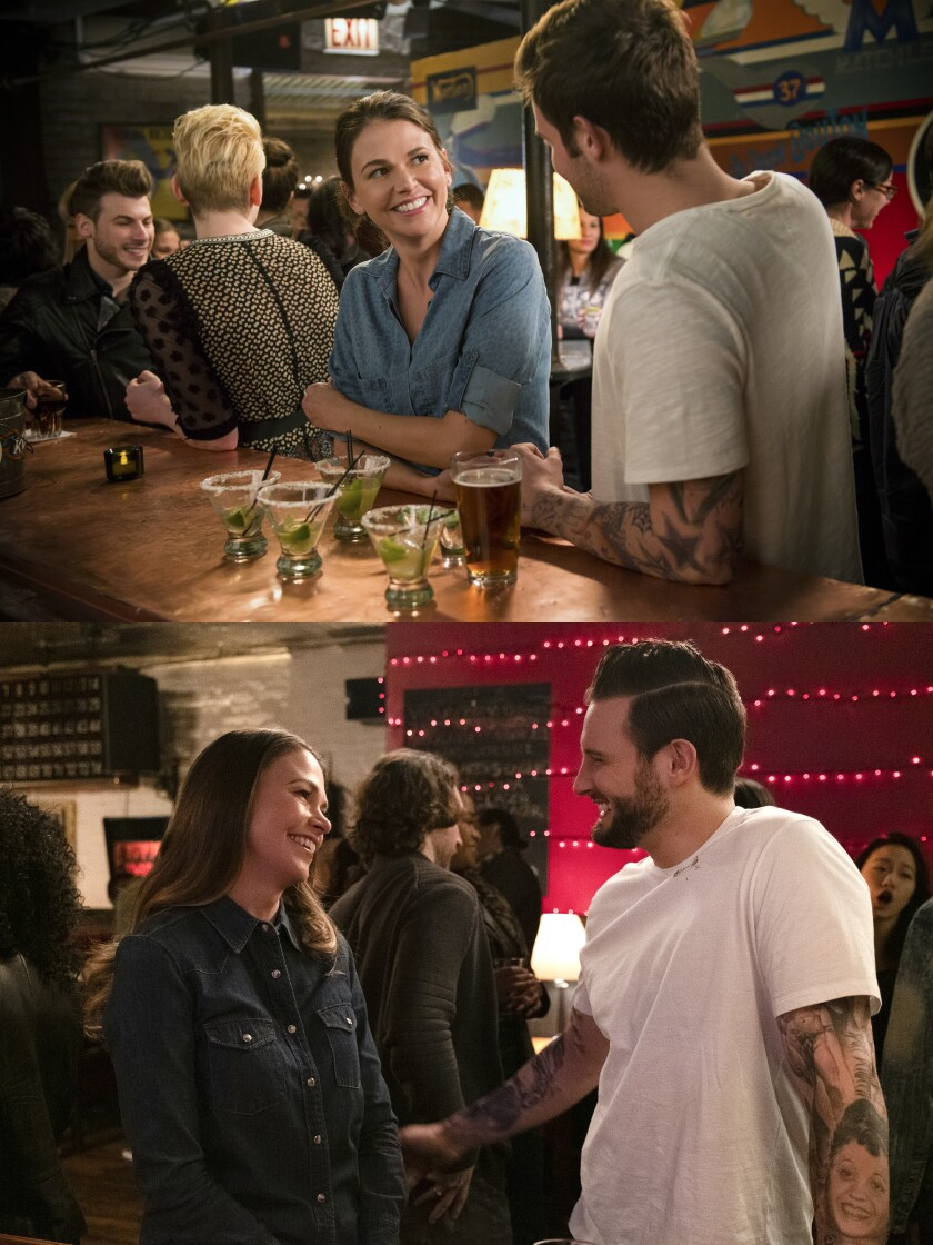 """A diptych of similar images of a woman and a man in a bar from the first and last episode of """"Younger"""""""