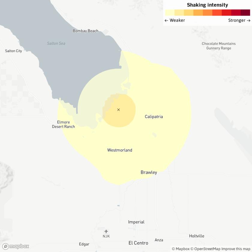 Map of area around the Salton Sea where the 3.6 earthquake struck Sunday