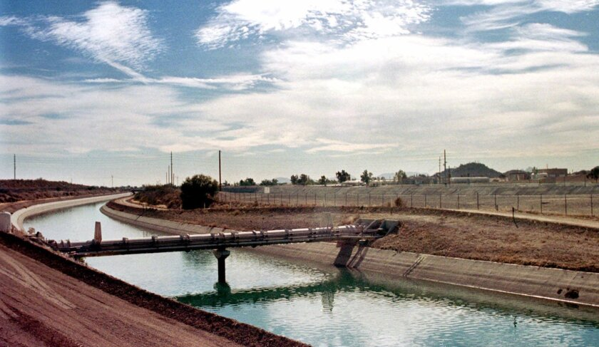 In Phoenix, a Central Arizona Project canal, which brings water to the desert city. Many of the canals were built on the vestiges of waterways built by the Hohokam people centuries ago.