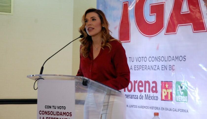 La candidata al gobierno del estado, Marina del Pilar Ávila, de la Alianza Juntos Haremos Historia