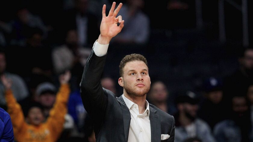 LOS ANGELES, CALIF. -- TUESDAY, DECEMBER 26, 2017: LA Clippers forward Blake Griffin (32) signals fo