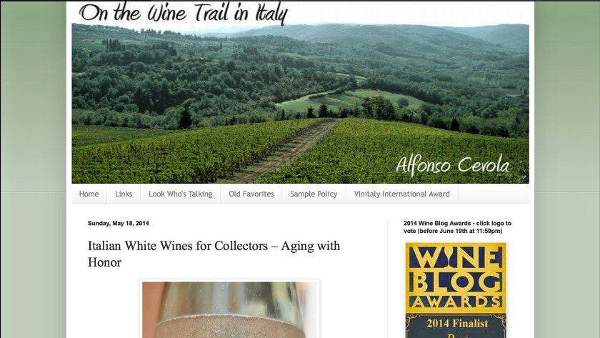 Alfonso Cevola's On the Wine Trail in Italy is a finalist in the best single subject wine blog category.