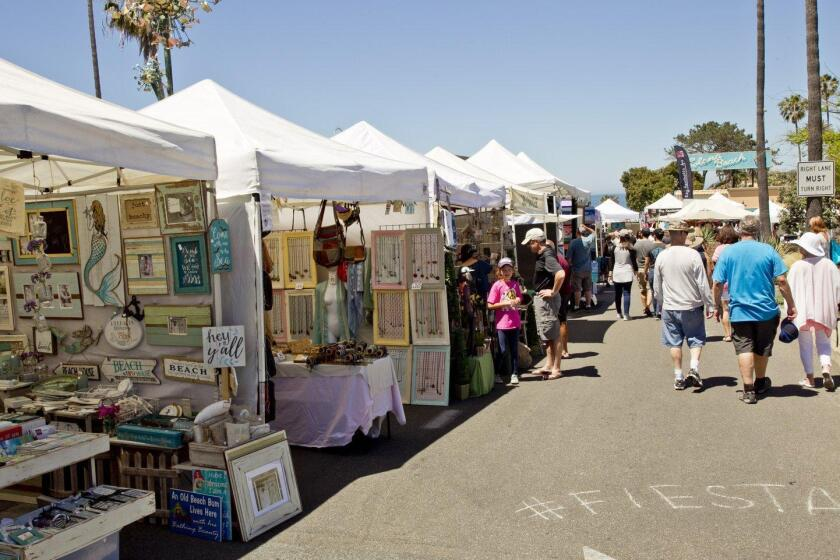 Artisan booths line the entrance to Solana Beach Fiesta del Sol