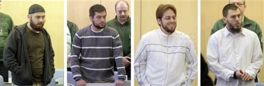 Defendants Adem Yilmaz, from left, Atilla Selek , Fritz Gelowicz and Daniel Schneider are seen in this combination photo in a courtroom in Duesseldorf, western Germany on Thursday March 4,2010. The defendants who are accused of belonging to a radical Islamic terror cell that plotted to attack U.S. targets in Germany, await their conviction. (AP Photo/Frank Augstein, Pool)