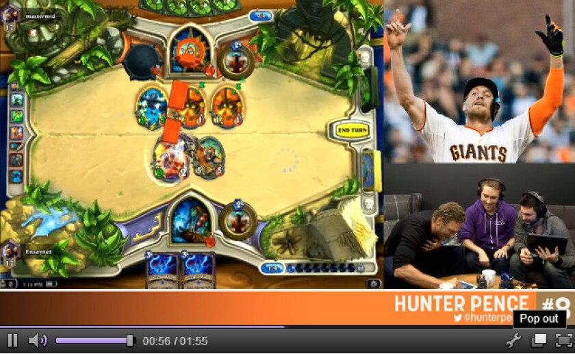 SF Giants outfielder Hunter Pence plays' 'Hearthstone: Heroes of Warcraft' live on Twitch