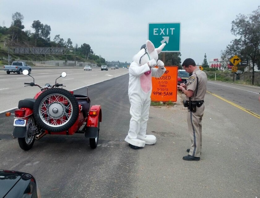 The Easter Bunny got pulled over for riding a motorcycle without a helmet, but CHP Officer Adam Griffiths ended up giving him only a warning, not a ticket.