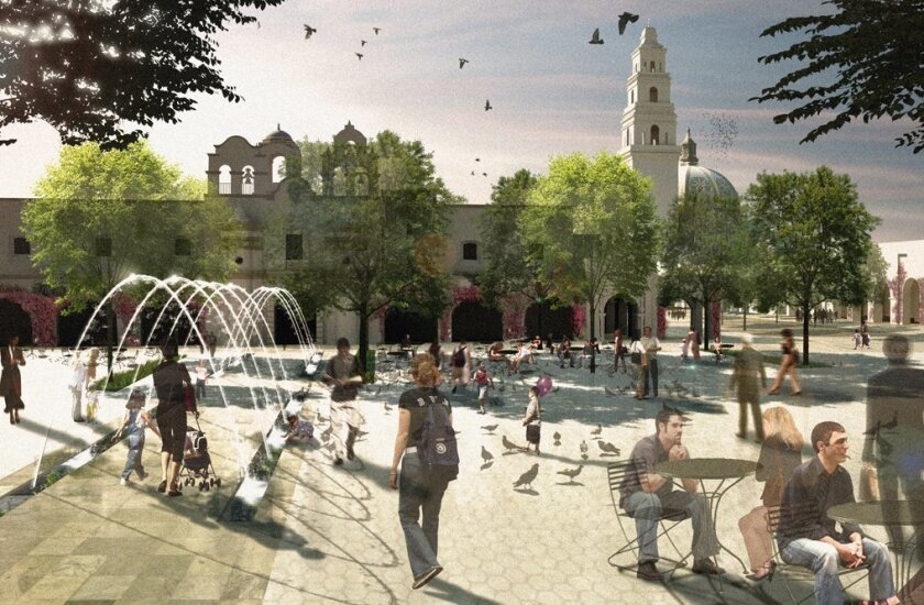 The Plaza de Panama in the center of Balboa Park would be turned over to pedestrians only under a plan put forward by Irwin Jacobs.