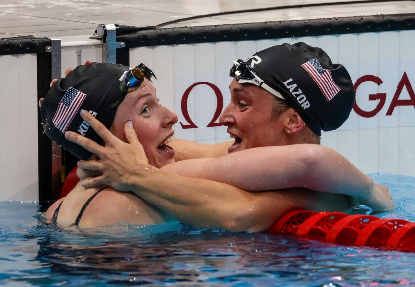 U.S. swimmers Lilly King, left, and Annie Lazor celebrate after winning silver and bronze.