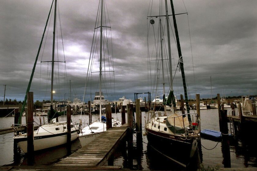 Clouds mark a low-pressure system moving into Somers Point, N.J., on Sept. 30