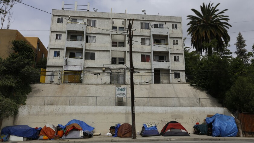 Homeless encampment located near downtown Los Angeles