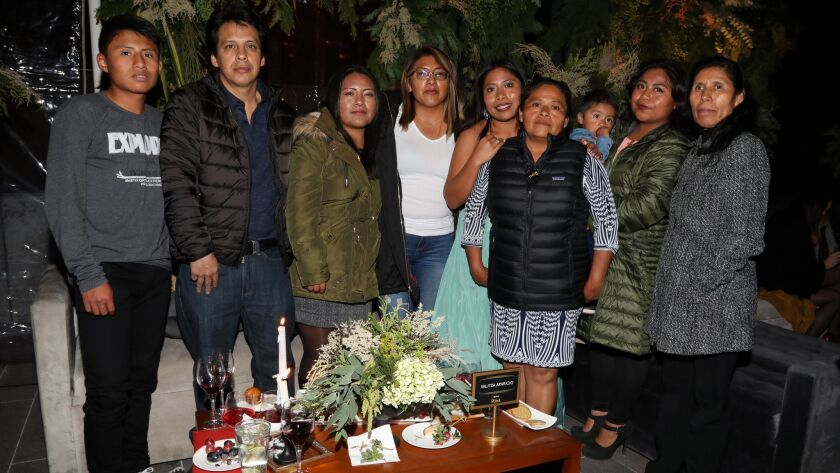 "Yalitza Aparicio, fifth from left, with her family at the Mexico City premiere of ""Roma."""