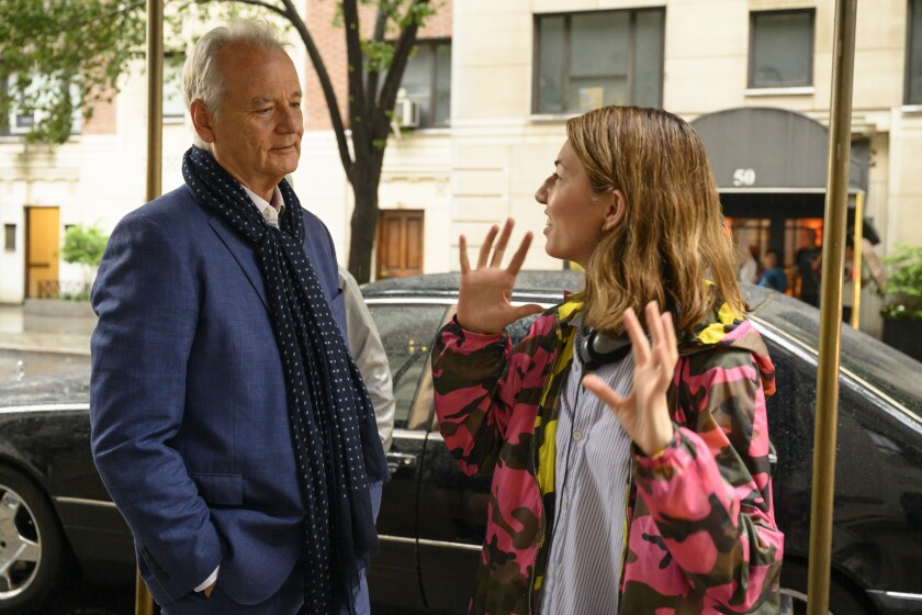 "Bill Murray with writer-director Sofia Coppola during the making of ""On the Rocks,"" now streaming on Apple TV+."