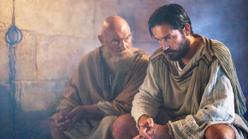 """(L-R) - (James Faulkner) reminds Luke (Jim Caviezel) that love is the only way in """"PAUL, APOSTLE OF"""