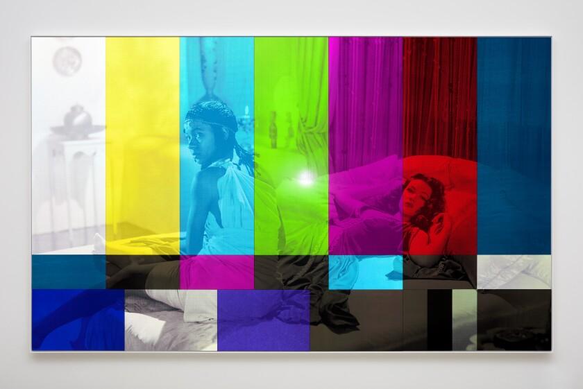 """Sundown (Color Bar)"" by Hank Willis Thomas, 2019. UV print on retroreflective vinyl. Photographed with flash."