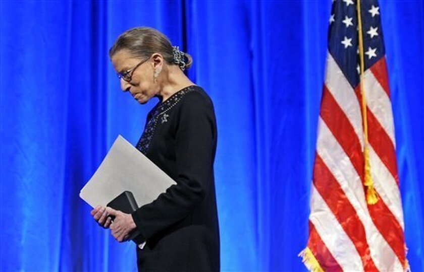 FILE - In this June 21, 2011, file photo Supreme Court Associate Justice Ruth Bader Ginsburg walks off stage after receiving a Jefferson Award for Public Service in Washington. Before becoming the second female justice on the nation's high court in 1993, Ginsburg had been a judge, a professor and a lawyer for the American Civil Liberties Union, who focused on gender equality. She has said gracefully, and with apparent good humor, that the president should not expect a retirement letter from her before 2015. (AP Photo/Cliff Owen, File)