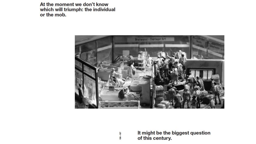 """A page spread from """"The Age of Earthquakes: A Guide to the Extreme Present"""" by Shumon Basar, Douglas Coupland and Hans Ulrich Obrist."""