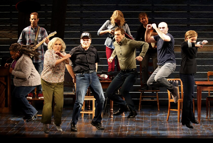 "LOS ANGELES CALIF. .. - NOV. 28, 2018. An ensemble cast performs ""Come From Away,"" a musical about s"