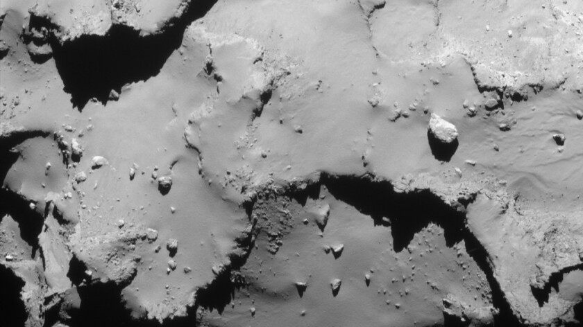 NavCam image taken when Rosetta was 12 miles from the center of the nucleus of the comet.