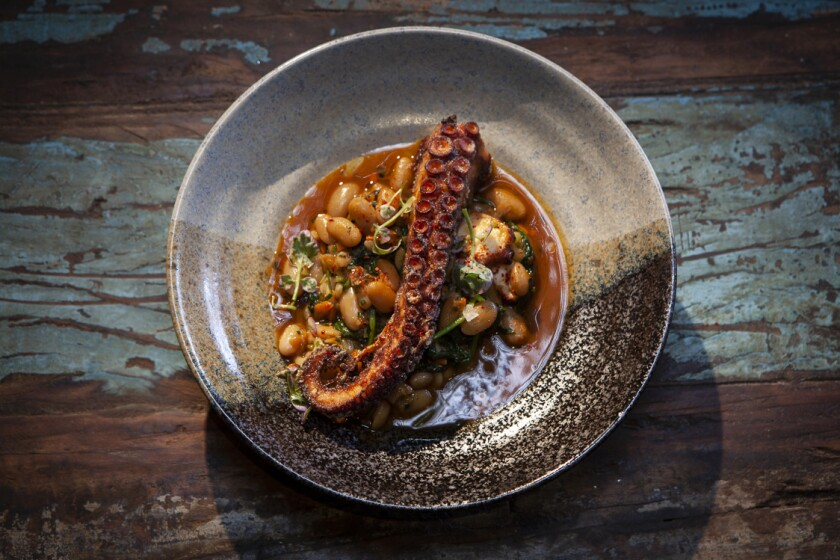 Spanish octopus with pasta e fagioli from Fia