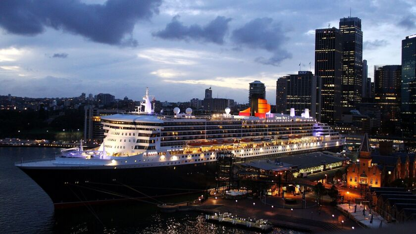 The Queen Mary 2 berthed at Circular Quay in Sydney, Australia.