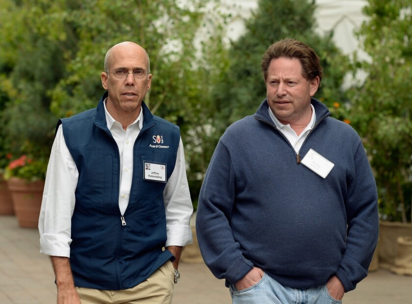 Dreamworks Animation Chief Executive Jeffrey Katzenberg, left, and Activision Chief Executive Bobby Kotick attend a conference in Sun Valley, Idaho.