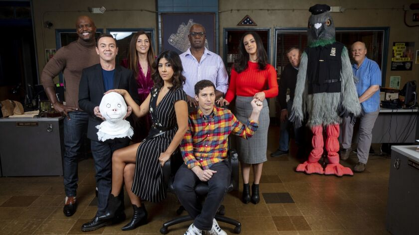 "STUDIO CITY, CA --DECEMBER 04, 2018 -- The cast of TV's ""Brooklyn 99,"" from left, Terry Crews, Joe L"